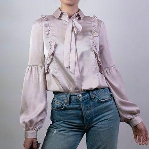 NWT Topshop Satin Pussybow Shirt